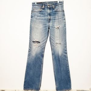 Levi's distressed high rise boyfriend jeans